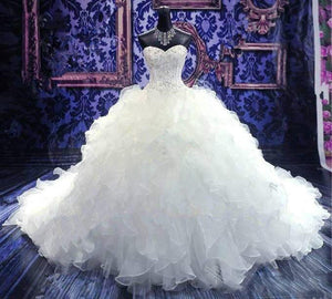 Siaoryne sweetheart Ruffle Organza Ball Gown Beading Wedding Dress Princesses Bridal Gowns