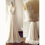 Classic Simple Cap Sleeves V Neck Chiffon and Lace Wedding Dress Beach Bride Gown with Pink Sash