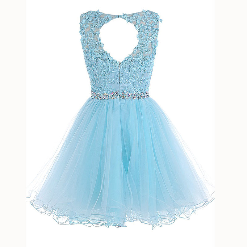 97291608f ... Baby Blue Lace Poofy Short Party Dress Graduation Junior Prom Cocktail  Gown ...