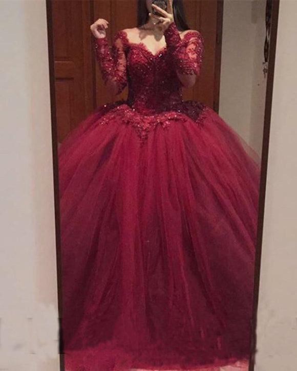 Burgundy Long Sleeves Quinceanera Dress Sweet 15 Dresses Ball Gown Wedding Gown PL2150
