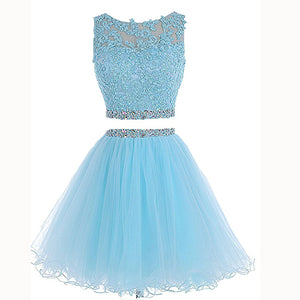Classy Light Blue Two Pieces Girls Short Dress Crop Top Mini Homecoming Prom Dresses Semi formal Gown MO500