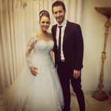 Princess Vintage Ball Gown Bridal wedding dress with Long Sleeves Custom made plus size mariage