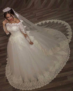 Off the Shoulder Bridal Dresses Lace Long Sleeves White Wedding Gown WD213