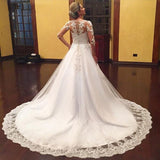 Plus Size Long Sleeves Lace Wedding Dresses  Sexy V Neck  Appliques Beaded Tulle Vestido De Noiva Bridal Gowns