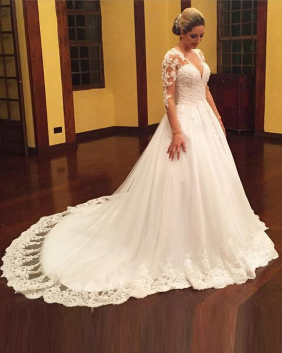 Plus Size Long Sleeves Lace Wedding Dresses Sexy V Neck Appliques