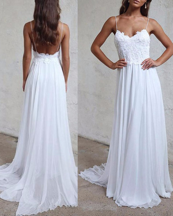Sexy Spaghetti Straps Boho Beach Wedding Dresses Lace Appliques Bohemian Bridal Dresses