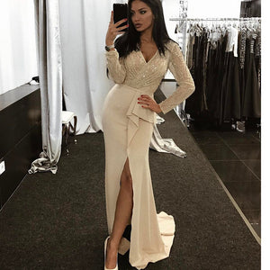 Siaoryne LP0907 Sexy Long Sleeves V Neck Beading Split Prom Dress Formal Prom Gowns