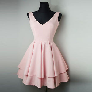 Blush Pink Short Dresses 2018 V Neck Homecoming Gown Girls 8th Grade