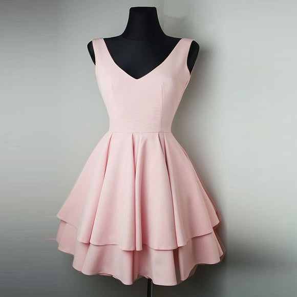 Blush Pink Short Dresses 2020 V Neck Homecoming Gown Girls  8th Grade Junior Prom Dress