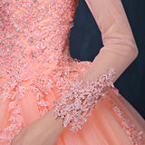ball gown appliques beading long sleeve modest prom gowns saudi arabia muslim