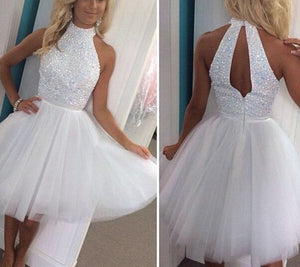 High Neck Beading White simple Backless Homecoming Dress