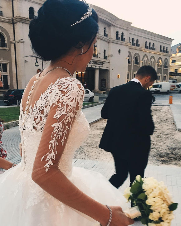 Sexy See Through Princess Appliques Long Sleeves Tulle Wedding Dresses Bridal Ball Gowns