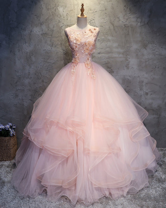 Pink Quinceanear Dress Ball Gown Scoop Neck Lace Prom Gown