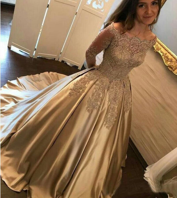 LP2888 Off the Shoulder Ball Gown Prom Dress with lace Long Sleeves Satin Formal Dresses 2018