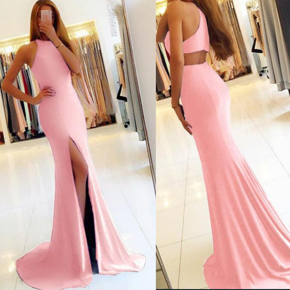 New Fitted Evening Dress Girls Pink Prom Ball Dress Formal Wear Wedding Guest Gown with Sexy Slit