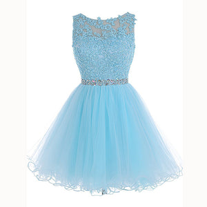 Baby Blue Lace Poofy Short Party Dress Graduation Junior Prom Cocktail Gown