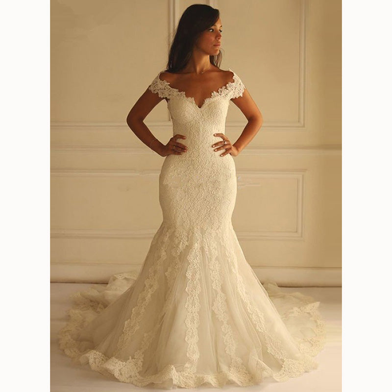 Mermaid Wedding Dresses With Sleeves: Best Ivory Mermaid Wedding Gown Lace Bridal Dress Cap