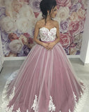 Romantic Ivory Lace Lotus Pink Ball Gown Wedding Dress for Women PL2154
