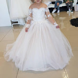 Lovely Flower Girl with lace Long Sleeves Princess First Communion Gown with Bow for Kids