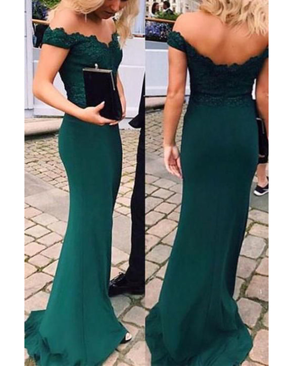 2019 Dark Green Long  Off the Shoulder Fitted Evening Prom Dress PL6541