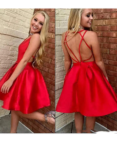 Red V Neck Satin Prom Homecoming Dress Short Party Gown Junior Graduation Dresses