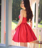 Fancy Sweetheart Red Satin A Line Short Evening Party Dresses Backless Homecoming Dress