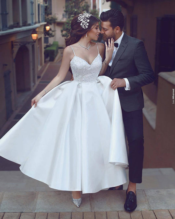Tea Length Wedding Dresses Spaghetti Straps Beading A Line Satin Short Bridal Gown