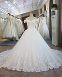Romantic Off Shoulder Women White Lace Beaded Wedding Dresses A Line Bridal Gown WD3312