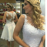 LP4498 Short Wedding Dress Lace Bridal Gown with Embellish Vestido De Novias 2018