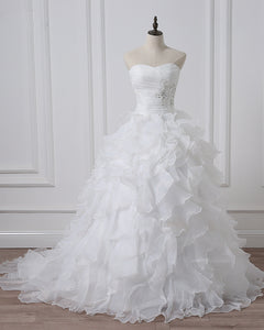 Ruffle Organza Ball Gown Wedding Dresses Sweetheart Bridal Dresses Robe De Mariee