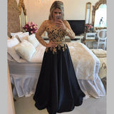 Gold Lace Prom Dresses  Appliques Pearls Black  Evening Gowns with Sleeves Vestido De Festa MO103
