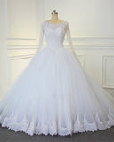 Luxury Lace Long Sleeves Bridal Dresses Ball Gown Wedding Dresses Court Train WD654
