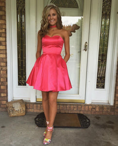 Siaoryne SP001 Simple Satin Sweetheart Homecoming Dress with Pockets Short  Semi Formal Gowns 2018 e843395f5