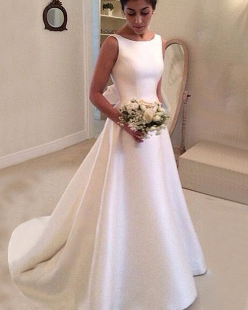 Simple Elegant Boat Neck Satin A Line Bridal Dress Women