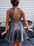 Siaoryne SP002 Beaded Bodice High neck Homecoming Dresses with Back Keyhole 2018