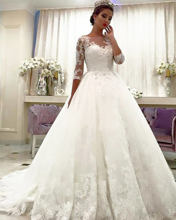 Lace Bridal Dresses With Long Sleeves Princess Wedding Gown