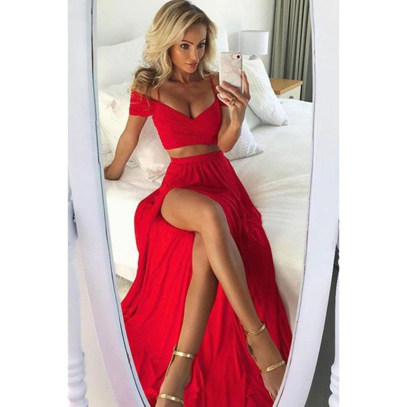 Scarlet Red Off the Shoulder Long Prom Dresses Crop Top Girls party Dress WL321