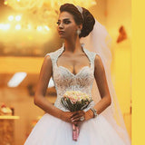 Siaoryne WD004 Sexy Cap Sleeves Princess Lace Beading Wedding Dresses Ball Gown