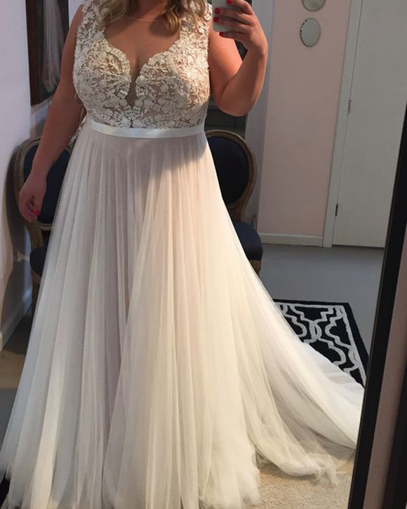 Plus Size Lace  and Tulle Beach Bridal Dresses Sexy V Neck WD362