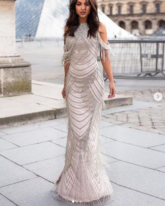 Luxury Rhinestones Beading Evening Dress 2019 Long Mermaid Slit Back Prom Pageant Dresses PL5521
