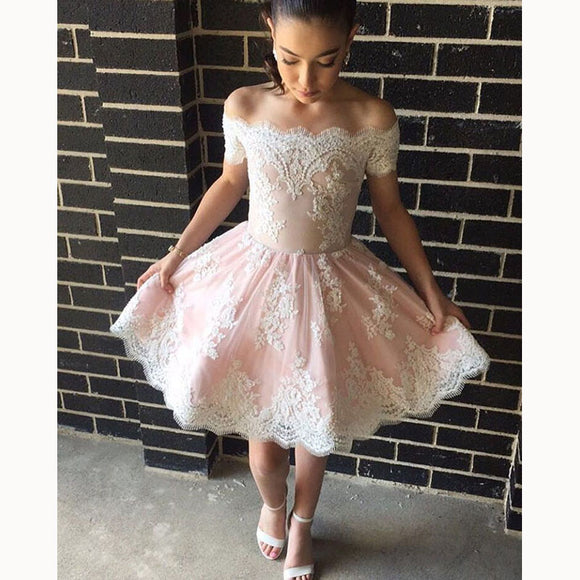 Blush Pink/Ivory Short Prom Dress with Lace Homecoming Junior Graduation Gown 2018