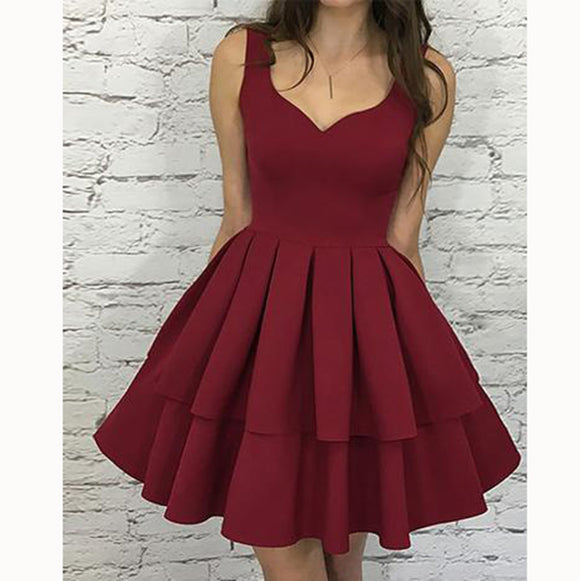 Burgundy Short Homecoming Prom Dress with Straps Junior Graduation Gown