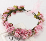 Sweet Bohem Bride Women Flower Crown Hair Band Wedding Floral Headband Garland Girl Flower Wreath Hair Accessories