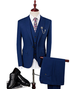 Blue Men Wedding Suit Tuxedo Three Pieces(Jacket +vest +pants)