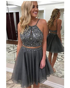 Grey Halter Beading Short Girls Prom Homecoming Dresses Crop Top Short Party Gown