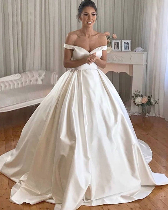 Off the Shoulder Ball Gown Satin Wedding Dresses 2019 WD654