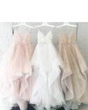 Poofy White/Pink/Champagne Wedding Dress with Spaghetti Straps WD554