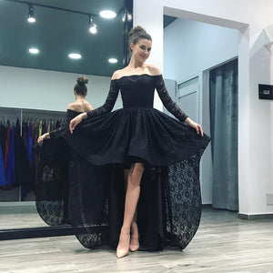 Siaoryne LP 001 Off Shoulder Black/Pink Lace High Low Prom Homecoming Dresses Long Sleeves 2018 fron short long back evening party gowns