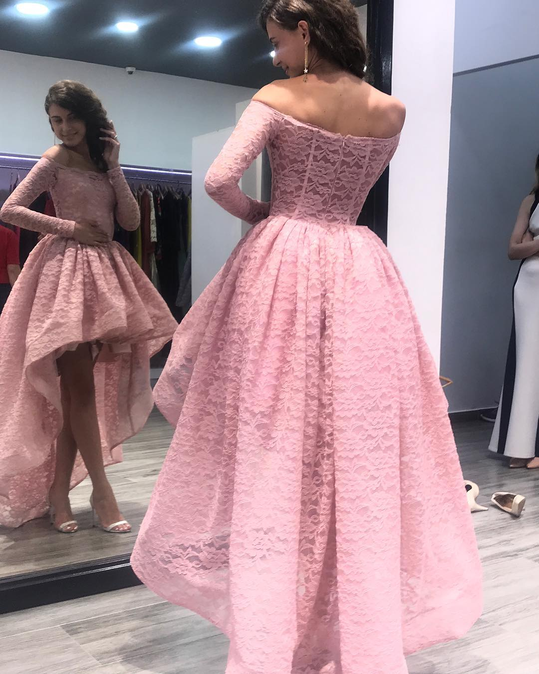 0bccc4054f41 ... Siaoryne LP 001 Off Shoulder Black Pink Lace High Low Prom Homecoming  Dresses Long Sleeves ...