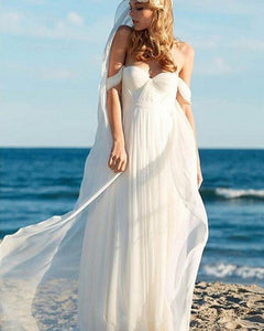 Elegant Ivory Chiffon Beach Wedding Dresses with Off Shoulder WD652